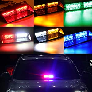 DIBMS 16 Leds Car Truck Emergency Strobe Flash Flashing Dashboard Interior Windshield Warning Light Bar for Car Off road vehicle ATVs truck engineering vehicles RGB