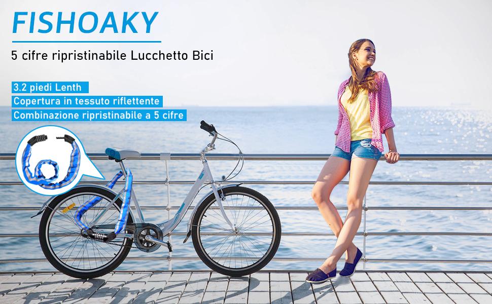Leoboone Bicicletta Lucchetto Codice Chiusure Bicicletta Ciclismo Password Combinazione Sicurezza Acciaio Lucchetti Accessori Bicicletta