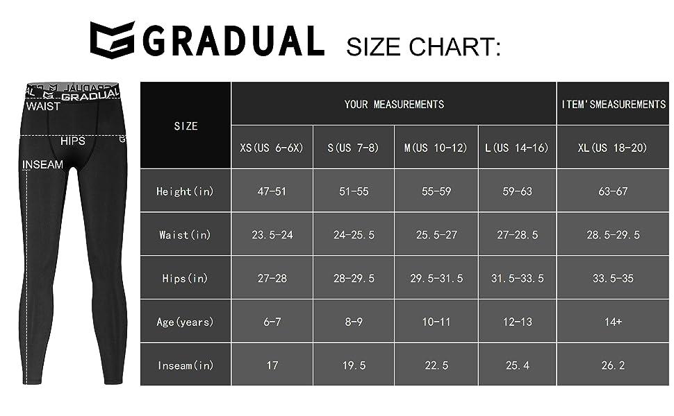 G Gradual Boys Compression Pants Youth Thermal Base Layer Fleece Tights Sports Basketball Leggings For Boys