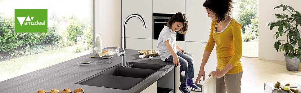Rubinetto Regolabile per Lavabo in Rame amzdeal Rubinetto da Cucina con Girevole a 360 /° Bagno Installazione Facile per Cucina Cucina e Miscelatore Caldo e Freddo