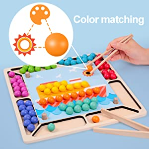 Wooden Educational Preschool Toddler Toy Learning Toy Fine Motor Color Recognition Parent-Child