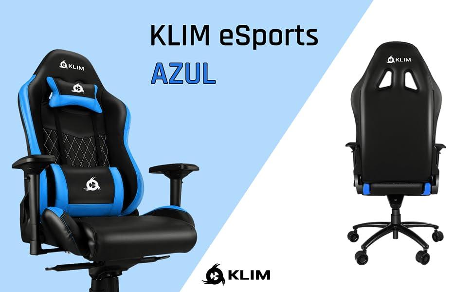 KLIM™ Esports Silla Gaming Ergonómica + con Soporte Lumbar y Cervical + Reclinable + Silla de Escritorio Ajustable + Piel Sintética y Materiales ...