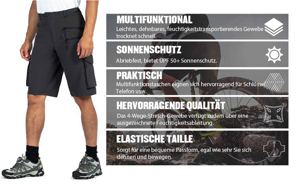 Wespornow Herren MTB Kurz Hose MTB Bike Shorts Fahrradhose f/ür Herren