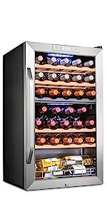 Ivation 33 Bottle Dual Zone Compressor Wine Cooler Refrigerator