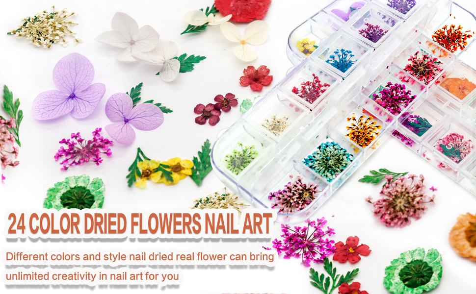 nail dried flowers