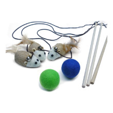 earthtone solutions cat kitten teaser wand toys ball felt wool interactive set exercise combo fun