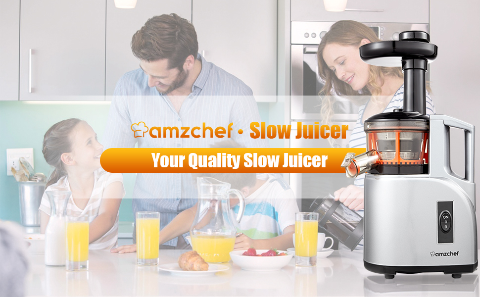 Slow Juicer AMZCHEF Slow Masticating Juicer Extractor Slow Cold Press Juicer Machine Quiet BPA Free