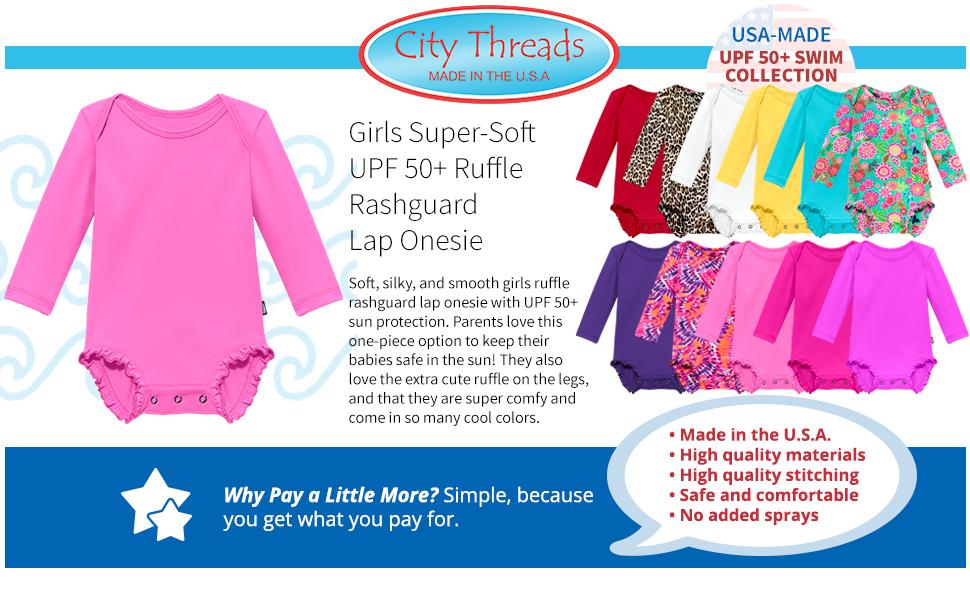 girls super soft UPF 50+ sun protection ruffle rashguard rash guard lap onesie smooth cute colors