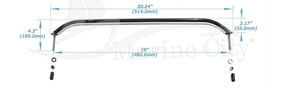 Marine City Stainless Steel 19 Inches Oval Grab Rail Handle with Flanges and Studs boat hardware