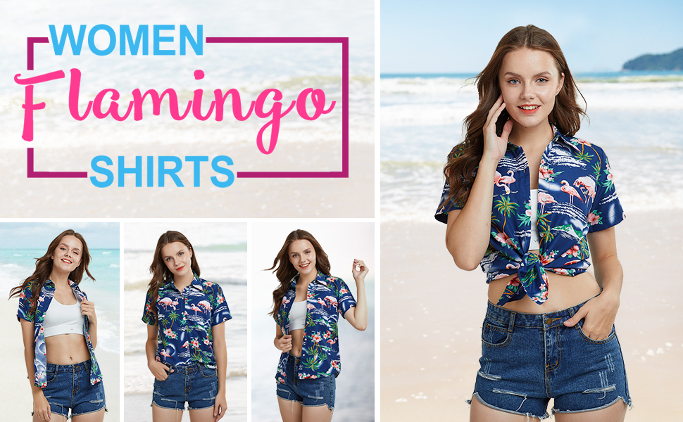 SSLR Camisa de Manga Corta Estilo Hawaiana con Estampado de Flamencos paea Verano Fiesta de Mujer: Amazon.es: Ropa y accesorios