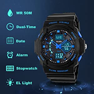 Kids Multi Function Sports Watch Waterproof Quartz Watch With LED Alarm Stopwatch Dual Time Display
