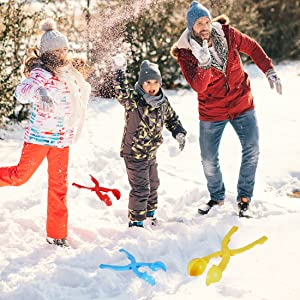 4 Pack Snowball Maker Snow Toy for Kids with Bonus Drawstring Bag for Winter