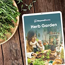 Plate with herbs on a table with eBook