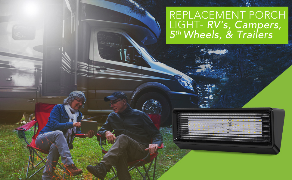 Replacement RV 6500K Trailer Camper 5th Wheels XL Porch Outdoor 12 Inch LED 10-30 Volts light lite
