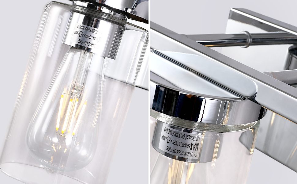 Bathroom Vanity Light Fixture, Brushed Nickel Finish, Moden Clear Glass Shade, 3-Light