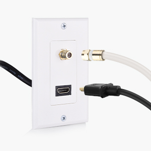 Cable Matters HDMI Wall Plate with Coax Outlet (Coax Wall Plate) in White