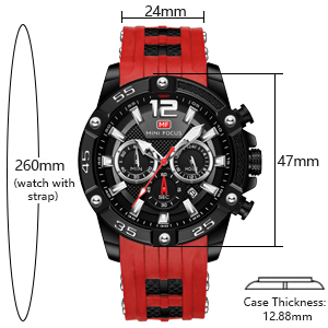 mens military watch Quartz Watch with Silicone Strap Chronograph Sport Wristwatches