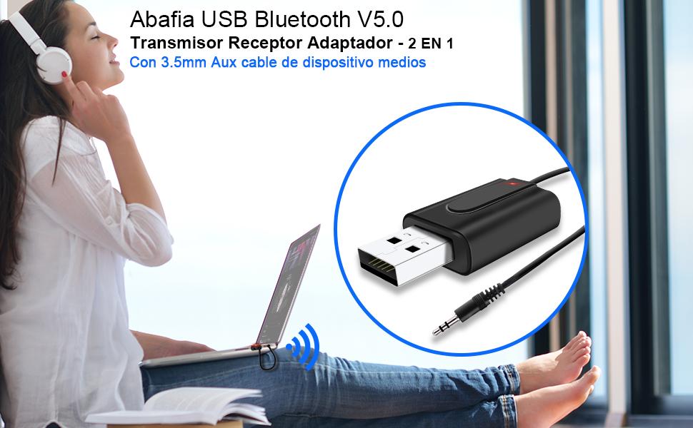 Abafia USB Bluetooth V5.0 Transmisor receptor adaptador
