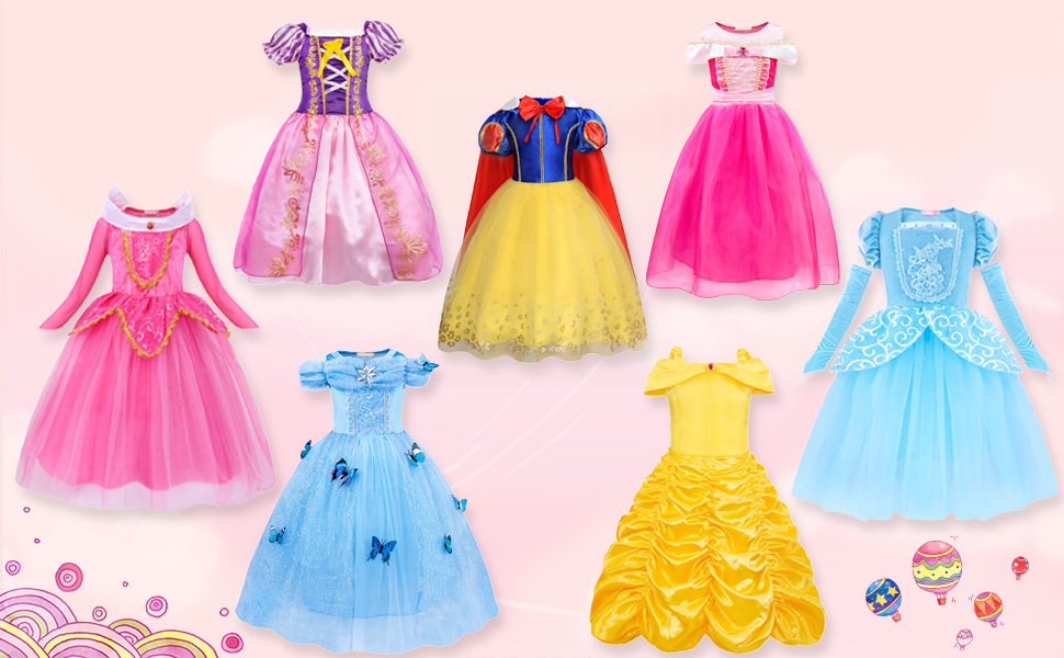 WonderBabe Little Girls Princess Dress Halloween Princess Dress Up Fancy Party Birthday Costume with Accessories
