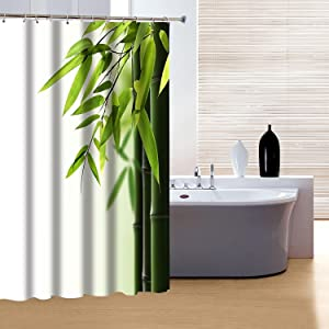 Bamboo and Leaves Shower Curtain Set