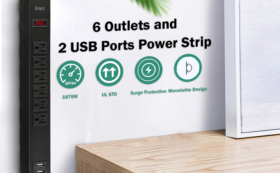 6 Outlets and 2 USB