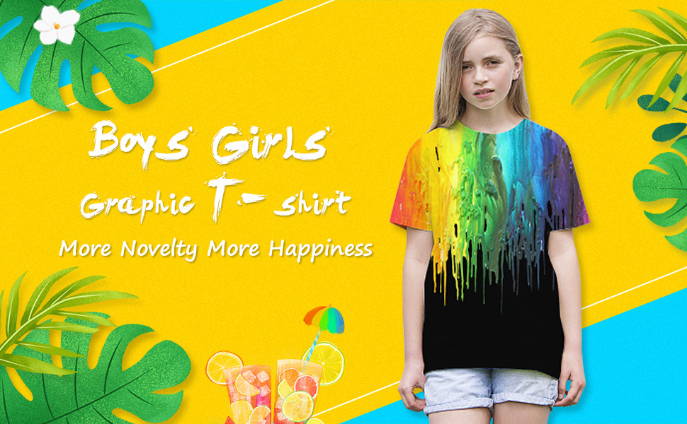 Enlifety Little Big Boys Girls Graphic Tees Funny 3D Printed Short Sleeve Youth T Shirts Top 6T-16T
