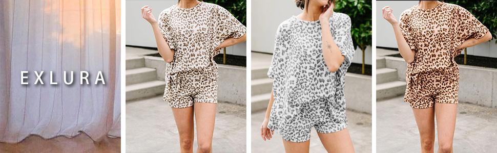 Womens Leopard Printed Pajamas Set