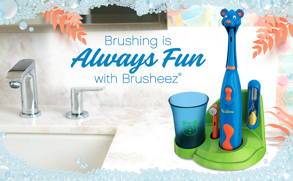 Brusheez Kid's Electric Toothbrush Set, Carnivore Edition - Buddy the Bear