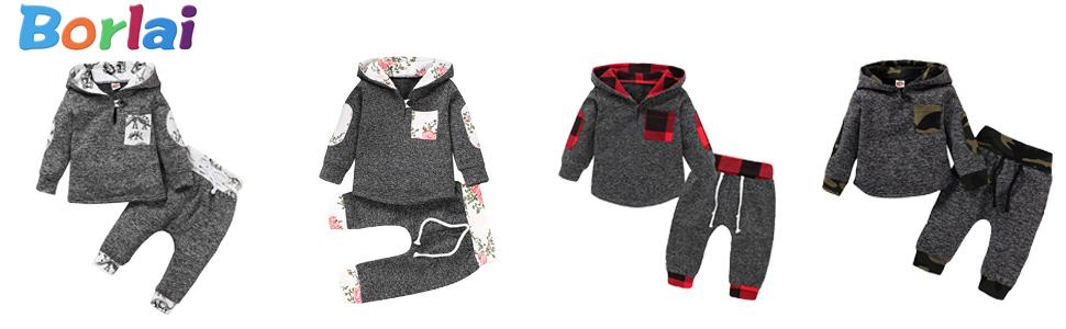 Baby Boy Girl Hoodie Trouser & Tops Set