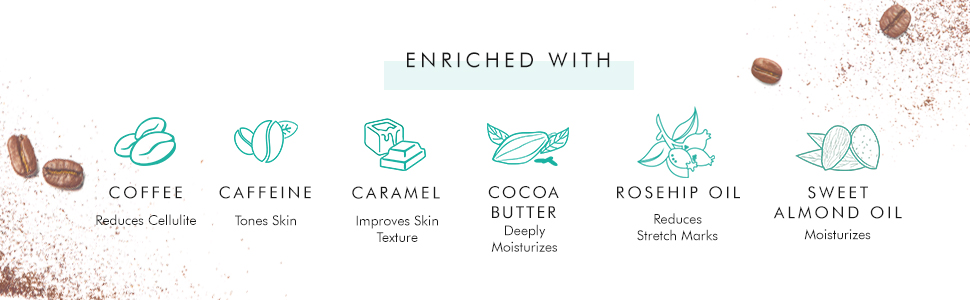 coffee caffeine caramel cocoa butter rosehip oil sweet almond oil tones skin reduces cellulite
