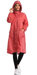 women rain jacket long