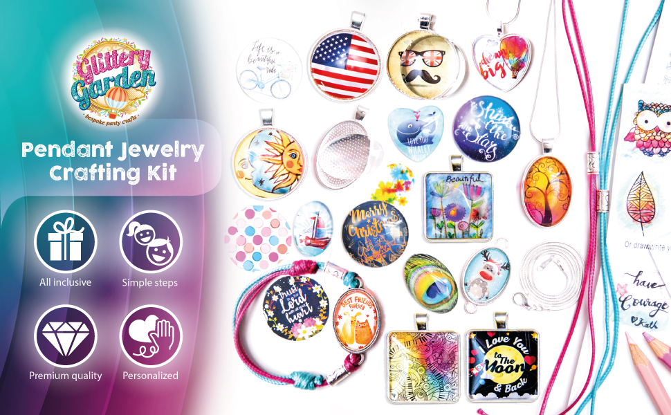 glittery garden pendant jewelry necklace craft kit gift girls