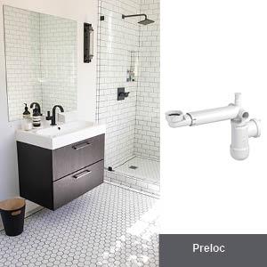 PREVEX Preloc Sifone salvaspazio universale per lavabo da bagno