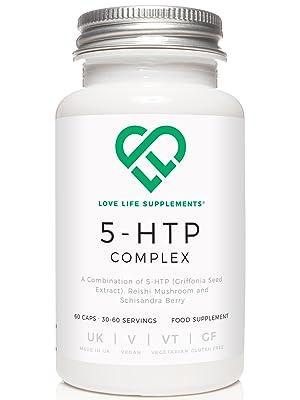 Love Life Supplements 5-HTP Complex | 100 mg de 5-HTP, 200 mg Setas Reishi y 200 mg Baya Schisandra | 60 Cápsulas Vegetarianas | Para Alivio del ...