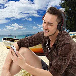 Mkay bluetooth headphones wireless over ear black-red-EBC-6