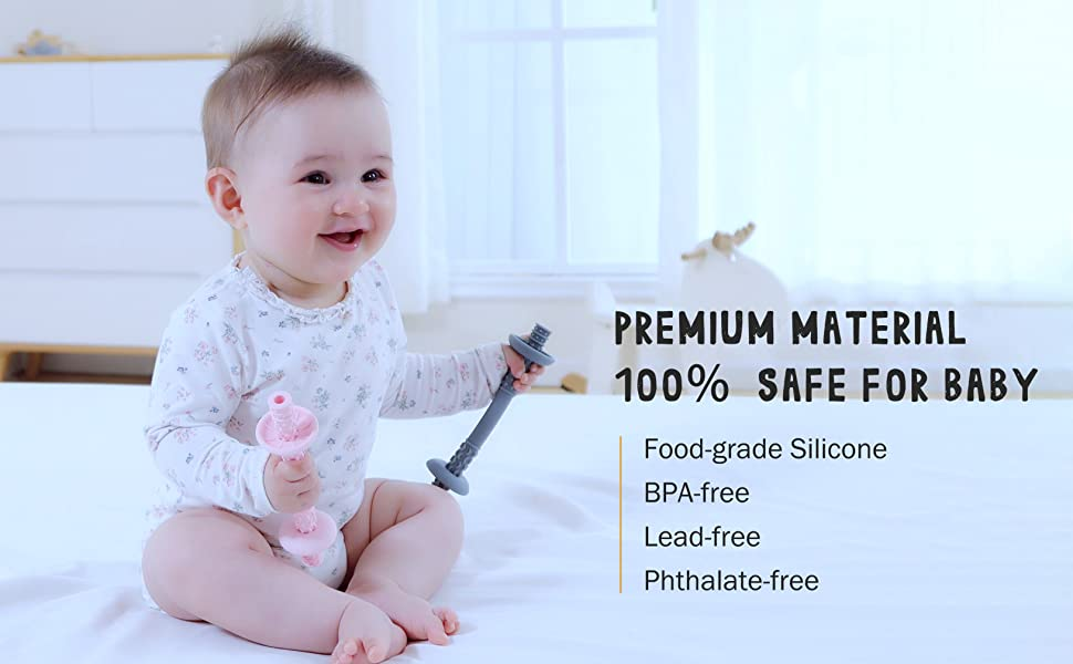 original baby teething tube with safety shield