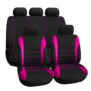 Kkmoon Sitzbezüge Auto Set Universal Autositzbezüge Schonbezüge Vordersitze Und Rücksitze Für Alle Autos 9 Stücke Rosa Rot Auto