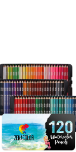 120 Professional 120 Zenacolor Watercolor Pencils with a Brush and Metal Case Soluble Different Color Pencils Watercolor Pencils Set Numbered
