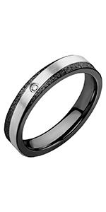 Sleek Two Tone Textured Engagement Ring