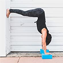 Yoga Blocks 2 Pack & Metal D-Ring Yoga Strap Set - Premium & Durable EVA Foam Blocks - Improve Yoga Poses, Strength, Balance & Alignment - Yoga Belt ...