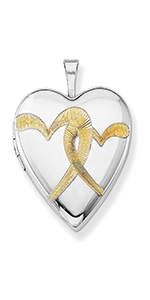 Jewelryweb Sterling Silver Polished Holds 2 photos Gold-Flashed Linked Hearts Locket