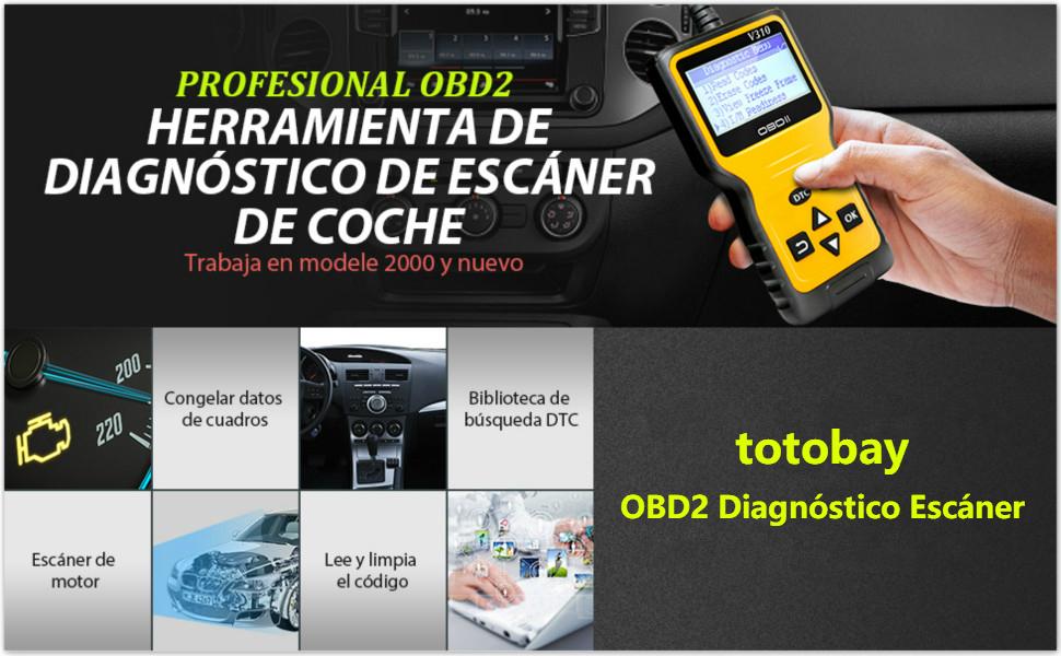 totobay OBD2 Coche Diagnóstico Escáner, OBD2 Automático Lector de ...