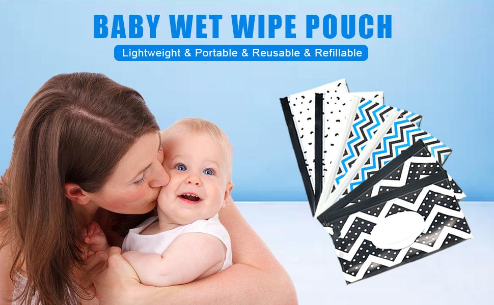 Camisin 3 Pcs Portable Wipe Wet Pouch Pochettes Distributeur Eco Friendly R/éUtilisable B/éB/é Couche-Lingette Essuyer Transportant Titulaire Cas