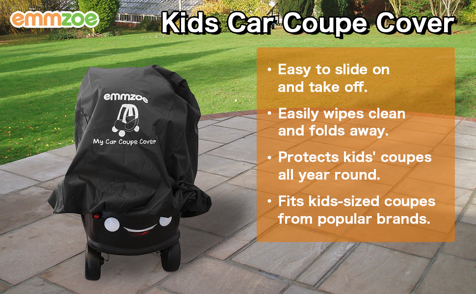 Emmzoe Ride-On Car Coupe Cover for Kids Car Coupes Universal Fit Water Resistant UV Rain Snow Protection