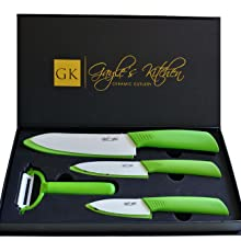 4-Piece Green Ceramic Knife Set