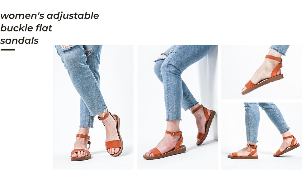 womens adjustable buckle flat sandals