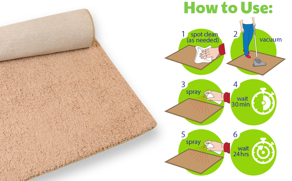 detrapel, how to use, directions, fabric, carpet, rug, pfas-free, spray, clean, wait 30 minutes