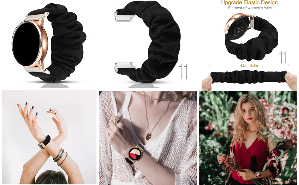 20 scrunchie watch band  PENKEY 20mm Scrunchie Watch Band Compatible with Samsung Galaxy Watch 42mm,Soft Classic Pattern Replacement Wristbands for Samsung Galaxy Watch Active/Active 2 a967a1a7 c939 48fe b47f f8cd93c7d56f