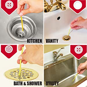Showing four drains with hand dropping a yellow, lemon stick inside kitchen, vanity, shower drains.