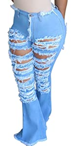 Women's Bell Bottom Jeans Ripped Hole Classic Denim Flare Pants